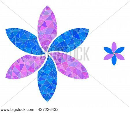 Triangle Flower Polygonal Symbol Illustration. Flower Lowpoly Icon Is Filled With Triangles. Flat Fi