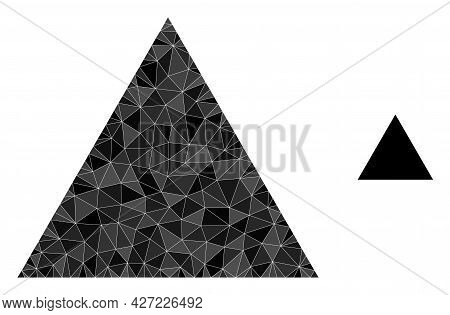 Triangle Polygonal Icon Illustration. Triangle Lowpoly Icon Is Filled With Triangles. Flat Filled Ab