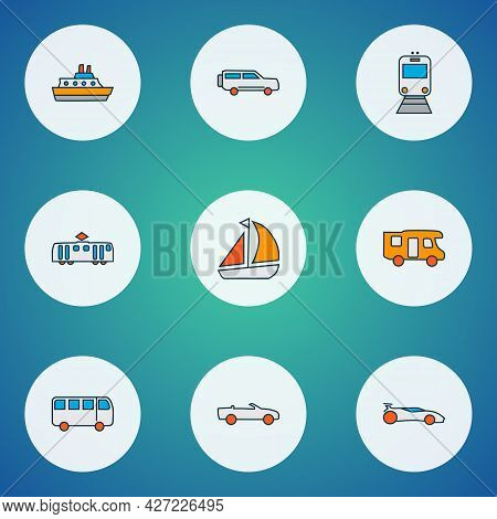 Transit Icons Colored Line Set With Bus, Train, Campervan And Other Tramway Elements. Isolated Illus