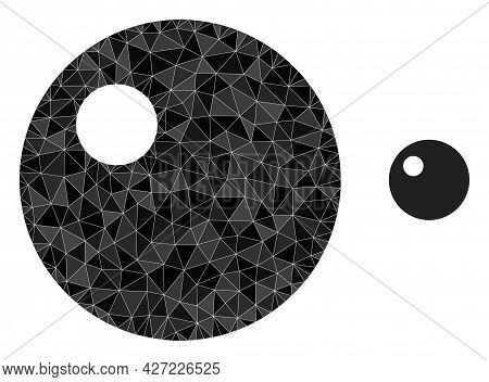 Triangle Sphere Polygonal Symbol Illustration. Sphere Lowpoly Icon Is Filled With Triangles. Flat Fi