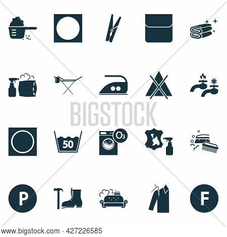 Textile Icons Set With Clothes Peg, Clean Towers, Caution And Other Chemical Cleaning Elements. Isol