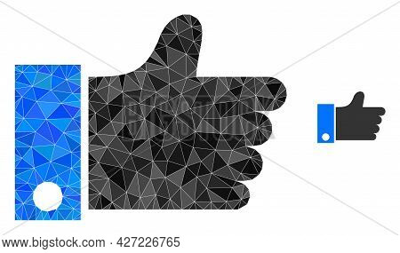 Triangle Thumb Up Polygonal Symbol Illustration. Thumb Up Lowpoly Icon Is Filled With Triangles. Fla