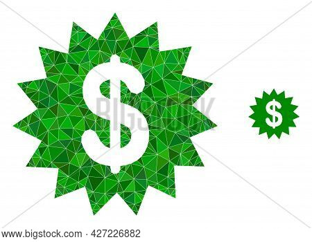 Triangle Dollar Rosette Polygonal Icon Illustration. Dollar Rosette Lowpoly Icon Is Filled With Tria