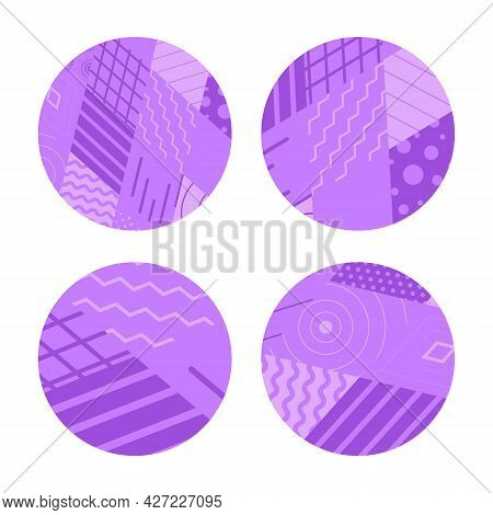 Set Of Vector Circles Decorated With A Geometric Pattern. Background Of Rhombuses, Parallel Lines An