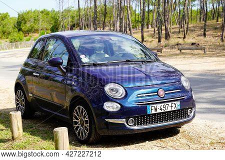 Bordeaux , Aquitaine France  - 07 04 2021 : Fiat 500 Hybrid Blue Color Parked In Road