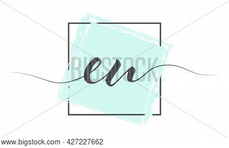 Calligraphic Lowercase Letters Eu In A Single Line On A Colored Background In A Frame. Vector Illust