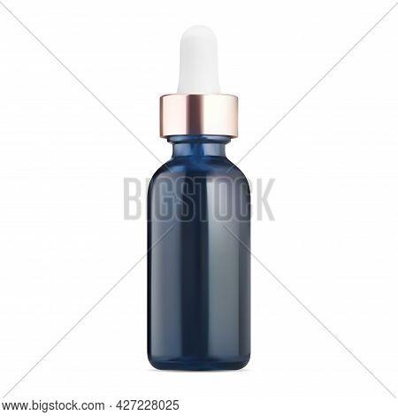 Dropper Bottle. Blue Glass Cosmetic Serum Bottle Design. Eyedropper Essential Oil Container Mock Up.