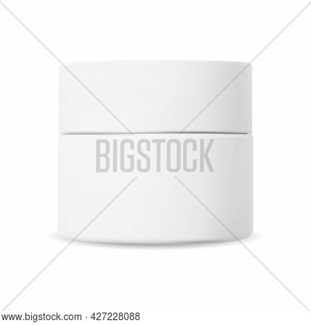 White Cosmetic Cream Jar. Plastic Creme Container Mockup. Beauty Gel Box Template. Face Skin Blush P
