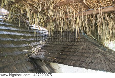 Organic And Natural Thatched Roof In The Village