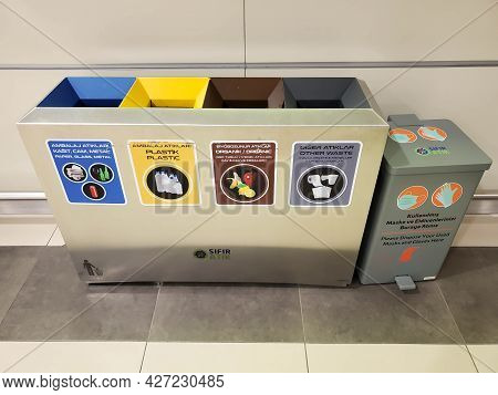 Separate Trash Bins For Recyclable Types Of Garbage And Trash Can For Used Face Masks And Disposable