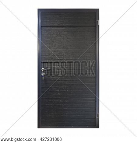 Black Metal Front Door To The House With Keys In The Keyhole Isolated On White Background. Exterior