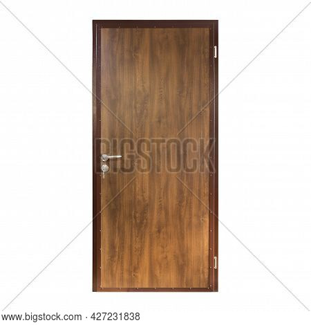 Brown Metal Front Door Isolated On White Background. The Outer Side Of The Entry Front Door. Entranc