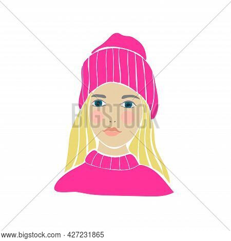Teens Girl Drawn In Hipster Style. White Background. Isolated White. Fashion Print. Kid Graphic. Ske