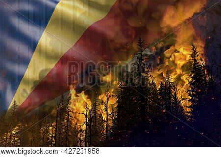 Forest Fire Fight Concept, Natural Disaster - Heavy Fire In The Woods On Seychelles Flag Background