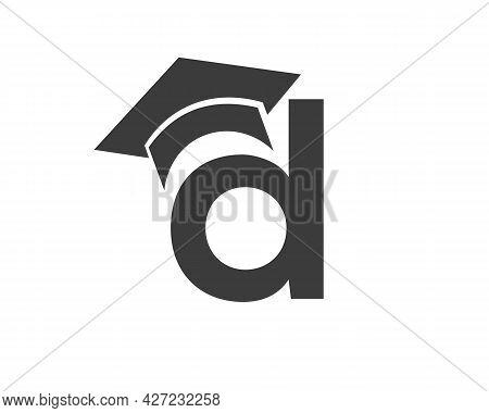 Education Logo With D Letter Hat Concept. Graduation Logo With D Letter Vector