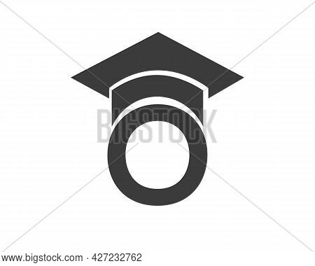 Education Logo With O Letter Hat Concept. Graduation Logo With O Letter Vector