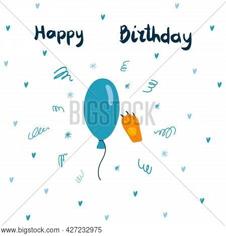 Vector Greeting Card With Blue Balloon And Ginger Cat Paw And Hand Drawn Lettering. Happy Birthday C