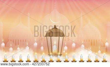 Eid Al Adha Card Traditional Islamic Lantern,crescent Moon And Star On Pink Background,vector Backgr