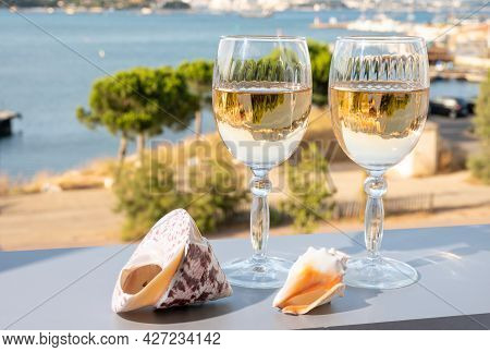 Summer On French Riviera, Drinking Of Cold White Or Gris Rose Wine From Cotes De Provence On Outdoor