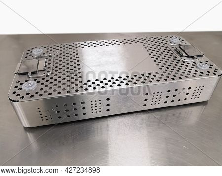 Closeup Image Of Steel Sterilization Tray. Using For Pack And Sterilize Surgical Instrument. Selecti
