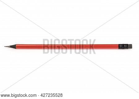 Orange Ebony Wood Pencil Isolated On White Background. A Simple Pencil With An Eraser. Office Tools.