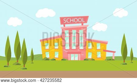 Cartoon School Building. Illustration Of A School With Landscaping. Modern Illustration Of The Schoo