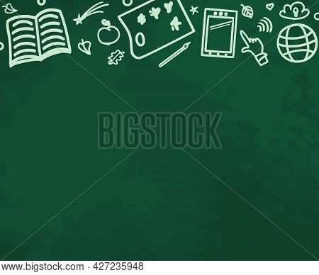 Back To School. Abstract Background With Hand Drawn School Symbols. Blackboard Design. Freehand Draw