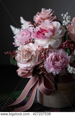 Beautiful Bouquet Of Pink Roses On A Dark Background, Soft And Romantic. Still Life With A Flowers.