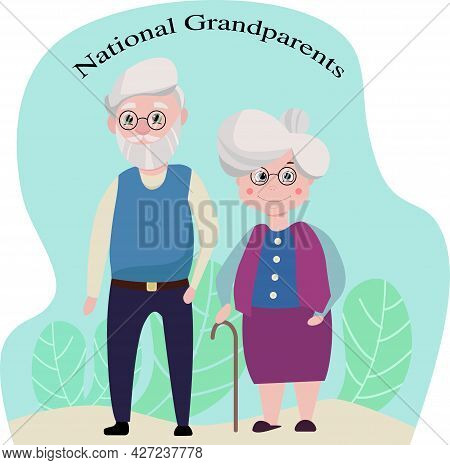Vector Illustration Of An Elderly Couple Husband And Wife Together Together