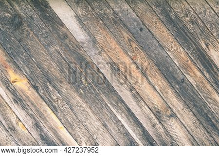 Background From Old Worn Barn Boards. Texture Of Old Wood For Design With Free Space