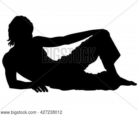 Lying Man - Black Vector Silhouette For Logo Or Pictogram. The Guy Lies On His Side With One Leg Ben