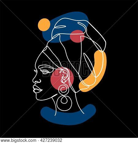 Afro American Woman With Abstract Forms On White.
