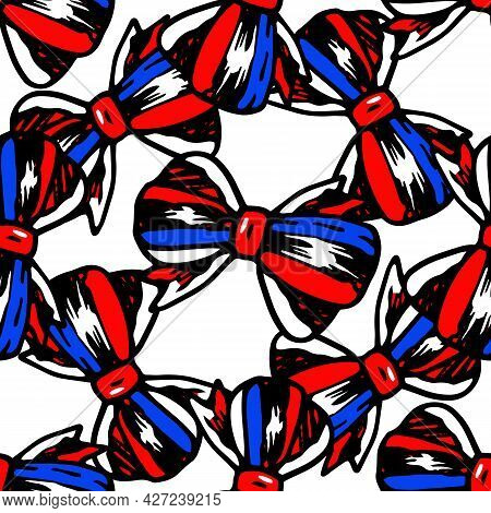 Vector Seamless Pattern Of A Bow Tied From A Three-color Ribbon Of Red, Blue And White Colors. A Doo