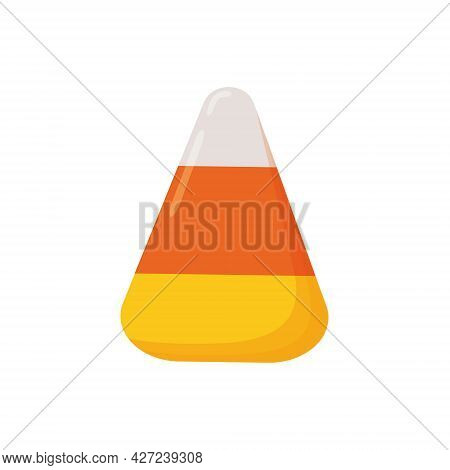 Single Candy Corn Isolated On White Background. Halloween Sweet Treat. Most Popular Autumn Confectio