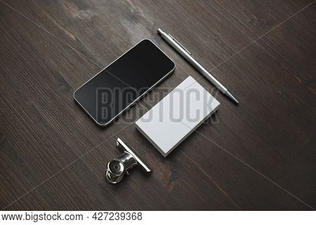 Smartphone, Blank Business Card And Pen On Wooden Background. Blank Stationery Set. Mockup For Brand