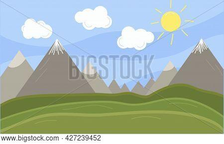 Cloud, Sun And Mountain Summer Landscape. Blue Sky And Grassland