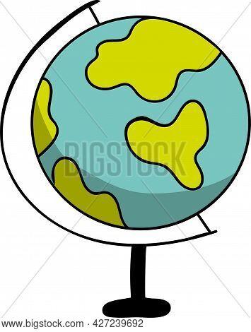 Drawn Funny School Globe, Geography Symbol, Earth