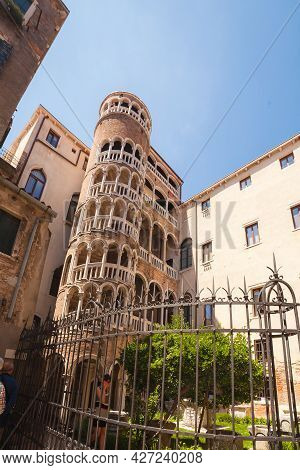 Venice, Italy - June 15, 2016: Palace Contarini Del Bovolo, Beautiful Spiral Staircase In Gothic Sty