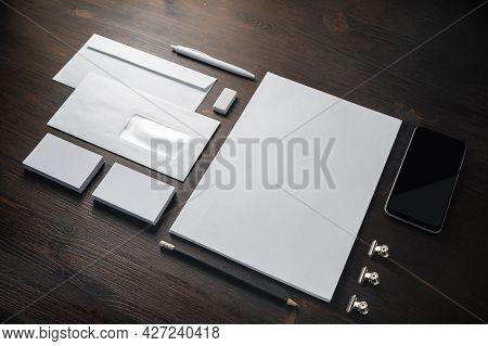 Blank Corporate Stationery Set On Wood Table Background. Template For Branding Design. Branding Mock