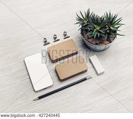 Blank Stationery Set On Light Wood Table Background. Template For Branding Design. Branding Mock Up.