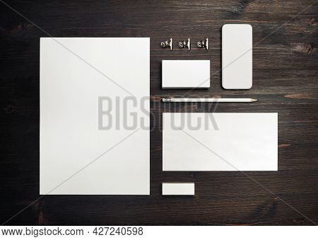 Blank Stationery Template On Wooden Background. Mock-up For Branding Identity. For Design Presentati