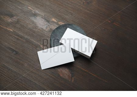 Blank White Business Cards On Wood Table Background. Mockup For Branding Identity. Template For Grap