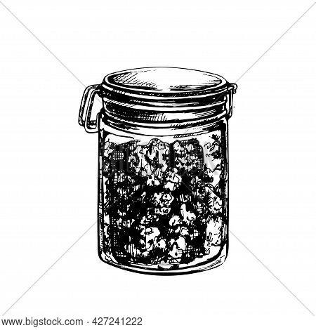 Glass Close Jar With Marijuana Buds. Hand Drawn Design Element. Vintage Vector Hatching Black Hand D