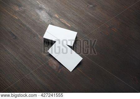Blank Business Cards On Wood Table Background. Branding Mockup.