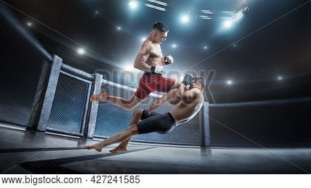 Mma Cage. Knee Kick To The Head. Two Fighters Are Fighting In The Octagon. Jump Kick. Sport Action C