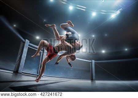 Mma Fighting. Side Slam. Two Fighters Are Fighting In The Octagon. Sport Concept.. 3d