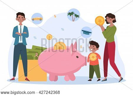 Family Saving Money Concept. A Man, A Woman And A Child Throw Coins Into A Large Piggy Bank. Save Mo