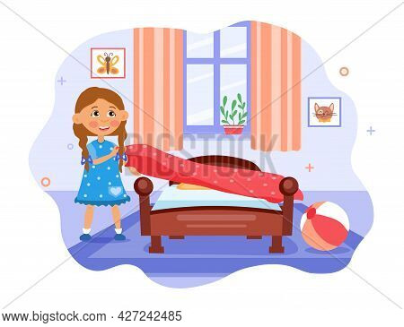 Kids Doing Housework Concept. A Little Cheerful Girl Makes Her Bed After Sleeping. Tidying Up His Ro