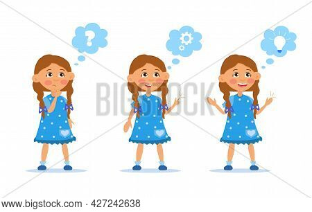 Kid Thinking Concept. Little Girl Generates An Idea. Character Asks A Question, Thinks And Comes Up