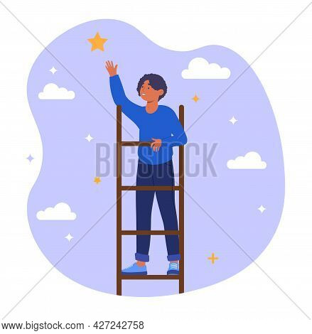 Ladder Of Success Concept. A Man Climbs A Ladder To The Stars. A Metaphor For Achieving Goals And Bu